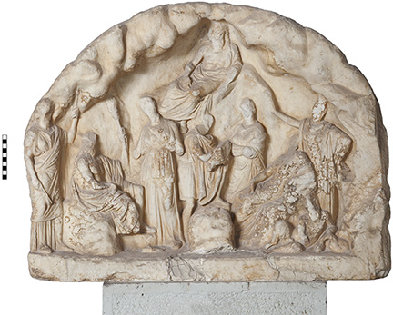 Fig. 1. Relief of Hermes(?) with nymphs, Pan, Acheloos, Demeter, Apollo, Artemis, and Zeus from the Athenian Agora. Inv. no. I 7154 (courtesy American School of Classical Studies at Athens: Agora Excavations).