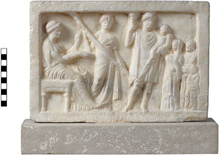 Fig. 2. Relief of Demeter, Kore, Eubouleus/Hermes, Ploutos, and worshipers from the Athenian Agora. Inv. no. S 1251 (courtesy American School of Classical Studies at Athens: Agora Excavations).