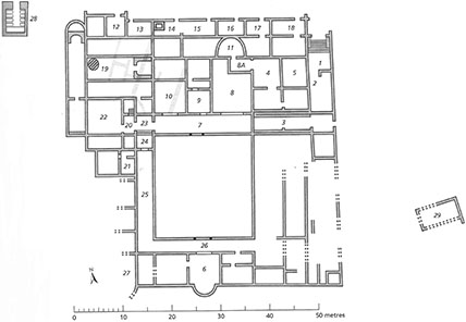Plan of the Late Roman villa in <em>contrada</em> Caddeddi. Pale lines in the northwest corner indicate walls belonging to part of the earlier villa buried below (Wilson 2016, 27, fig. 2.2).