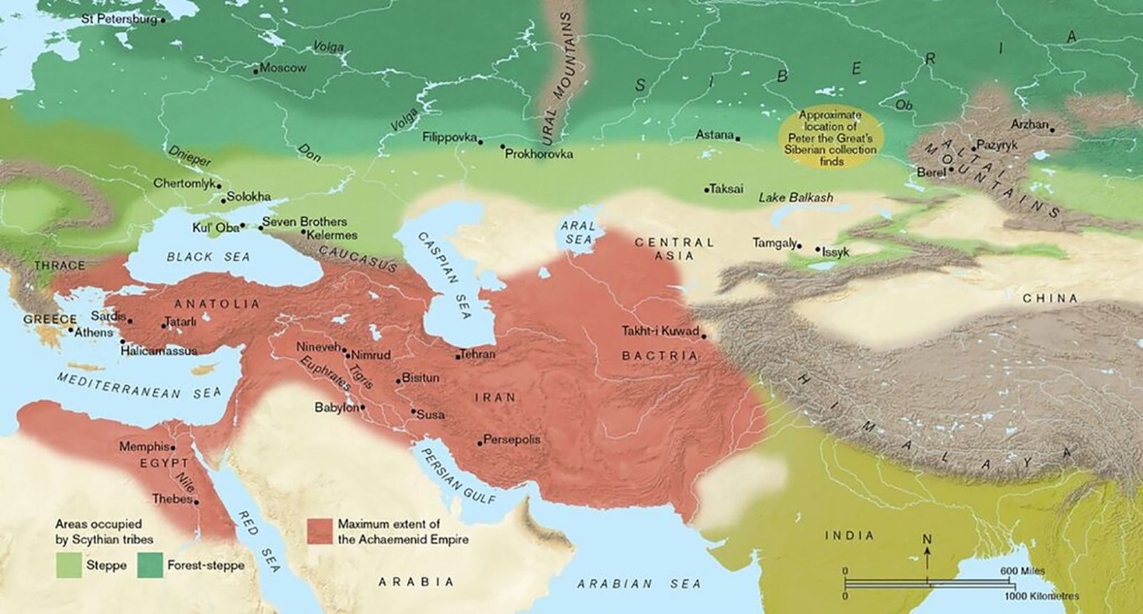 Fig. 1. Map of Eurasia, showing the extent of the Achaemenid empire (in red) and the Eurasian steppe and mixed woodland largely occupied by the Scythians (in green) (P. Goodhead).