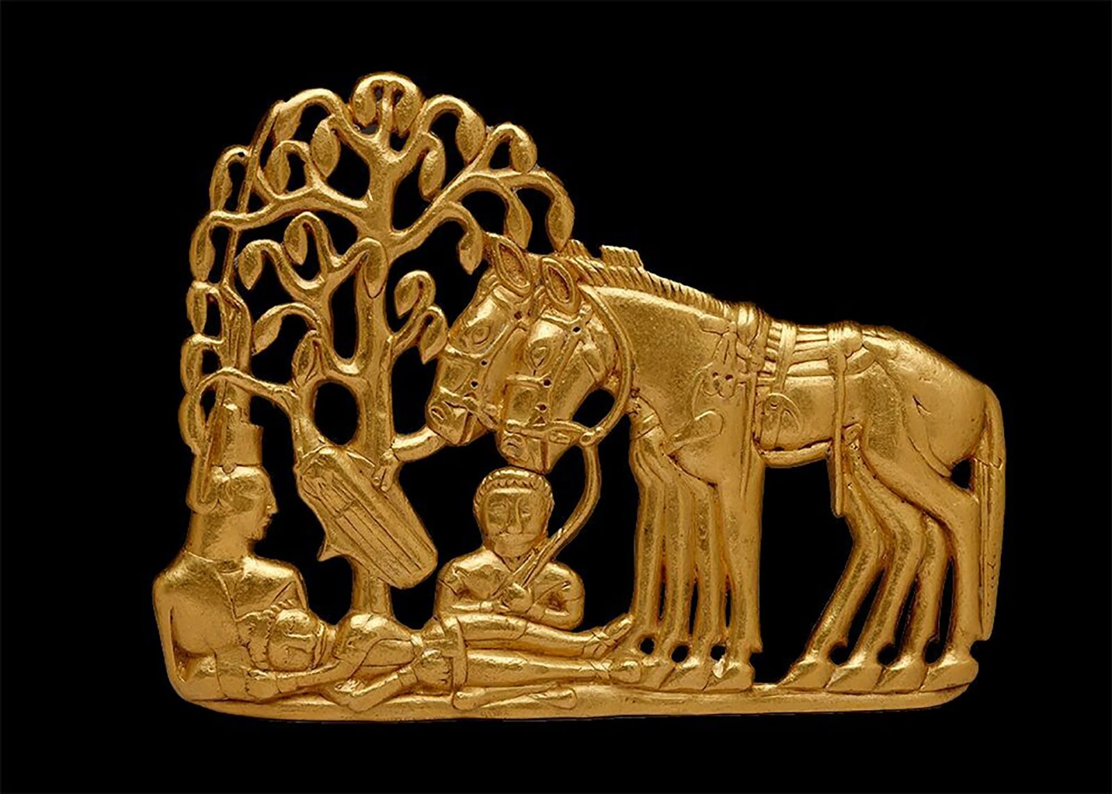 Fig. 2. A gold belt plaque of a Scythian funerary scene, fourth–third century B.C.E. Siberian Collection of Peter the Great (V. Terebenin; © The State Hermitage Museum, St. Petersburg, 2017).