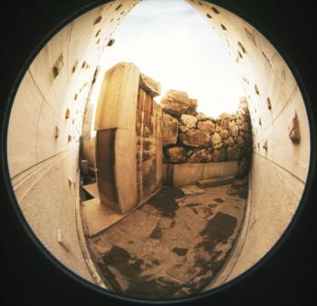 Fish-eye photograph of the surviving remains of the pre-Mnesiklean entrance.