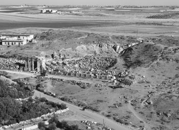 View of the remains of the Great Roman Theater of Apamea.