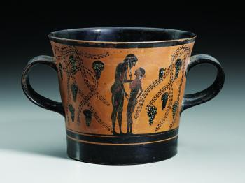 Attic black-figure two-handled cup of unusual shape