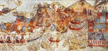 Coastal town depicted on the Fleet Fresco from the West House, Thera.