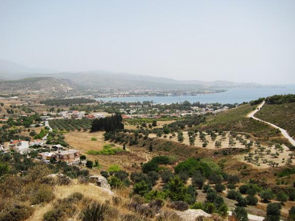 Fig. 6. Kalamaki Bay, the location of ancient Schoinos, viewed from the site of Rachi near Isthmia.