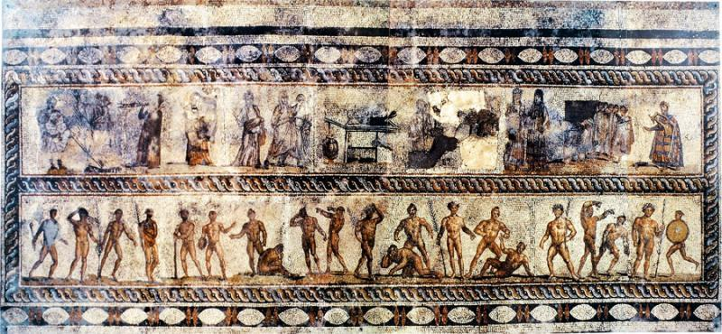 Fig. 4. Mosaic pavement, showing musical and athletic contests, late second or early third century C.E. Patras, Archaeological Museum, inv. no. Ψ.Π.1 (courtesy Sixth Ephorate of Prehistoric Classical Antiquities) (= fig. 12 in published article).