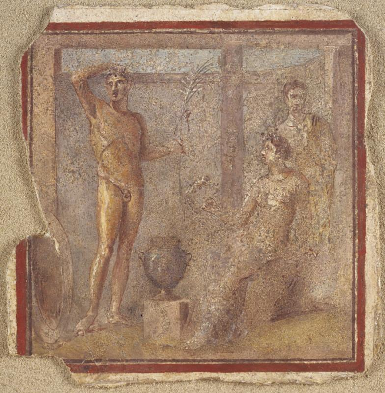 Fig. 7. Painted panel, showing athlete with palm crowned by female personifications, Quirinal Hill, Rome. Rome, Museo Nazionale Romano, inv. no. 103421 (courtesy Ministero per i Beni e le Attività Culturali, Soprintendenza Speciale per i Beni Archeologici di Roma) (= fig. 20 in published article).