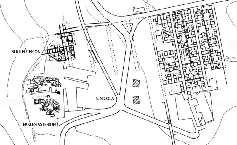 Fig. 4. Plan of the Hellenistic-Roman urban grid (at left are the sacred area of San Nicola, the ekklesiasterion, and the bouleuterion) (adapted from De Miro 1994, fig. 3).