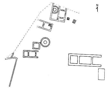 Fig. 11. Building development at the Sanctuary of the Chthonic Divinities during the middle of the sixth century B.C.E. (Zoppi 2001, fig. 114).
