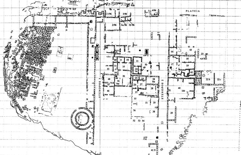 Fig. 35. Urban plan from Temple Hill at Akragas around the last quarter of the sixth century B.C.E. (after De Miro 2000, fig. 8).