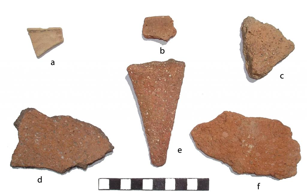 "Fig. 3. Pottery collected in Shore House and on platform: a, Late Minoan <span class=""caps"">IB</span> cup; b, cookpot rim; c, d, pithos; e, cookpot leg; f, pithos."
