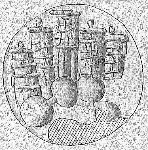 Fig. 9. Coastal towers depicted on a Late Minoan I sealing from Zakros (<i>CMS</i> 2[7], no. 218) (courtesy I. Pini).