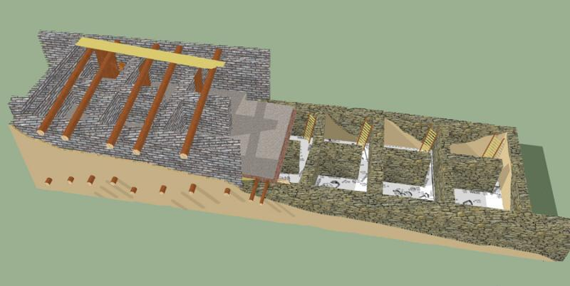 Fig. 11. Reconstruction of Iron Age I compound (phase IX) at Tell Abu al-Kharaz (courtesy Tell Abu al-Kharaz Project).
