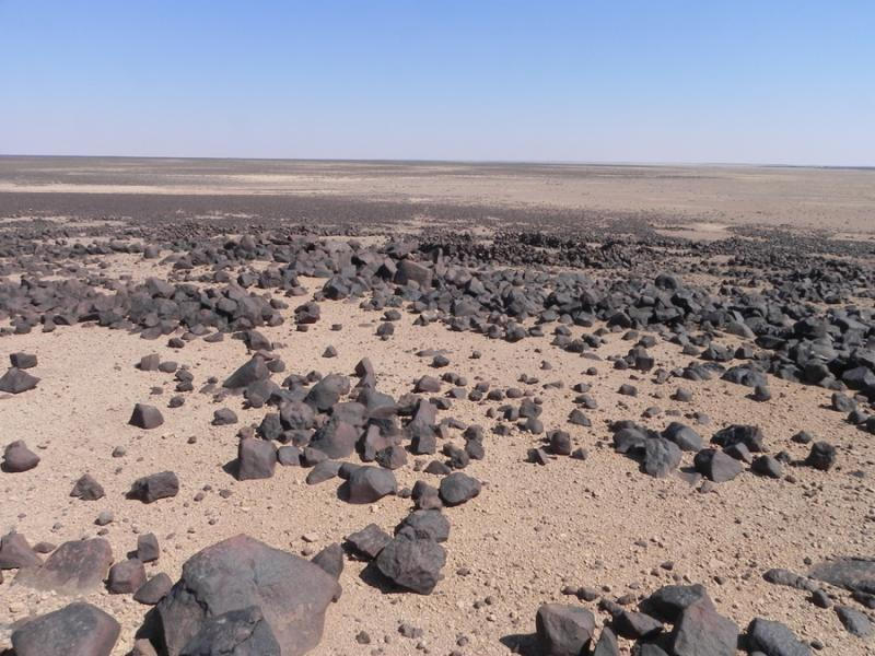 Fig. 14. Chalcolithic/Early Bronze Age I campsite with remains of pen structures in Marrab al-Khidari (site XII-9) at the northeastern border of the basalt desert (B. Müller-Neuhof).