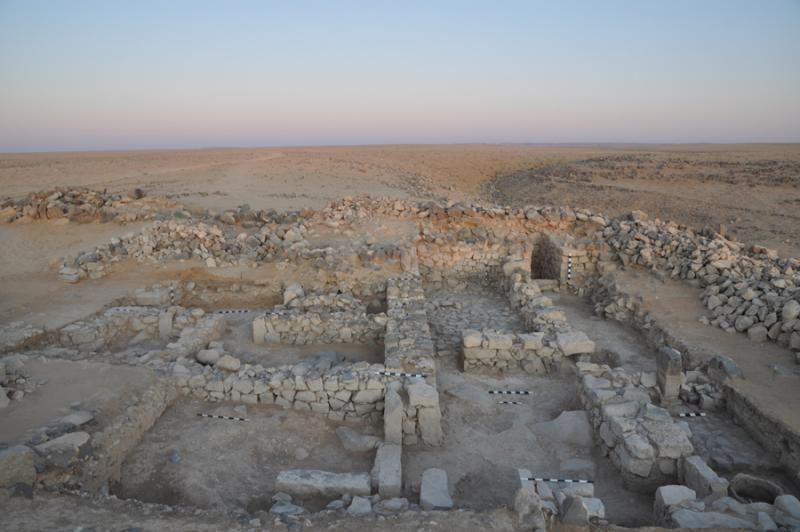 Fig. 55. Final photograph of Khirbat al-Mudaybi', with an overview of excavation squares in field D, looking west (G. Mattingly).