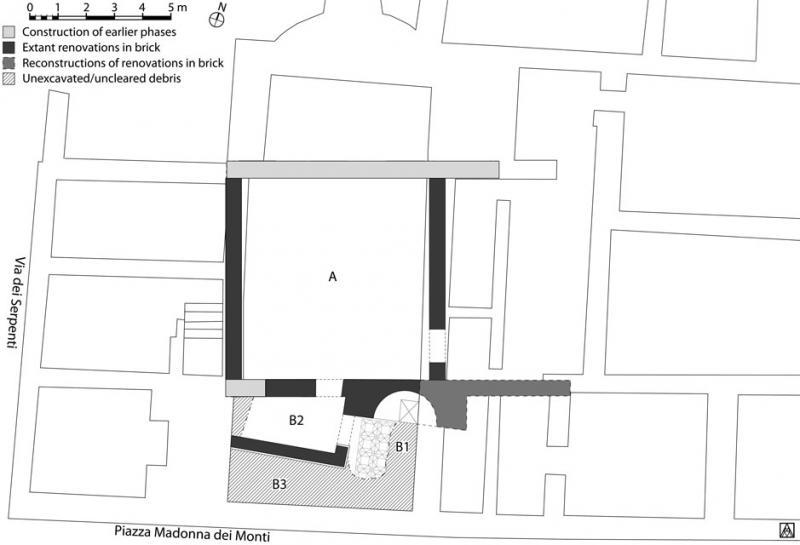 Fig. 2. Plan of the house below Santi Sergio e Bacco, showing second phase of imperial renovations in which Rooms B2 and B3 were created within the former space of Room B1 by the addition of an east–west wall and doorway.