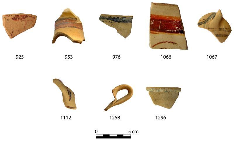 Fig. 3. Finds from the interior of Room B1 of the Extension B1/B2/B3 in the Megaron B complex. The sherd numbers correspond to catalogue numbers in Cosmopoulos (forthcoming).