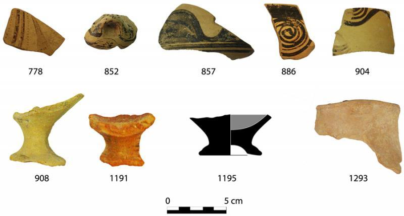 Fig. 5. Finds from the drain in the Peisistrateian Telesterion at Eleusis. The sherd numbers correspond to catalogue numbers in Cosmopoulos (forthcoming).
