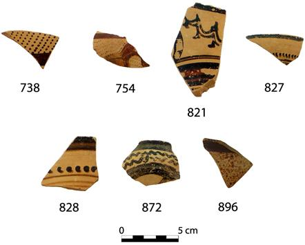 Fig. 6. Finds from the deposit under Wall 1a/1b to the south of the Peisistrateian Telesterion. The sherd numbers correspond to catalogue numbers in Cosmopoulos (forthcoming).