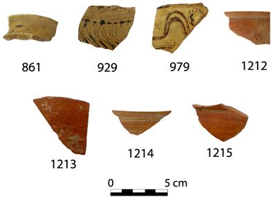 Fig. 9. Finds from the interior corner of Walls 4 and 4c to the south of the Peisistrateian Telesterion. The sherd numbers correspond to catalogue numbers in Cosmopoulos (forthcoming).