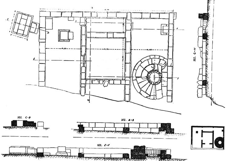 Fig. 9. Plan of Temenos 1, Sanctuary of the Chthonic Divinities. The temenos had a first phase with an open-air altar that was later incorporated into the enclosure. On the eastern sides of both Temene 1 and 2, a room was added, probably at the beginning of the fourth century B.C.E. (Marconi 1933, fig. 6).