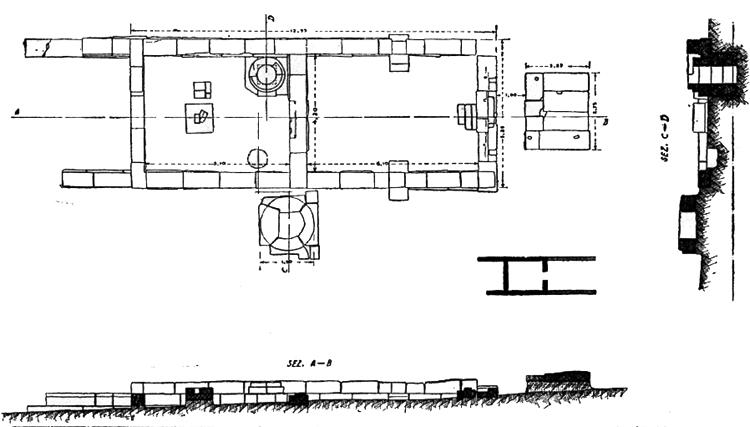 Fig. 10. Plan showing the bipartite architectonic structure of Temenos 2, Sanctuary of the Chthonic Divinities. On the eastern sides of both Temene 1 and 2, a room was added, probably at the beginning of the fourth century B.C.E. (Marconi 1933, fig. 7).