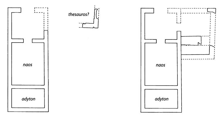 Fig. 16. Plans and development of the small temple at Gate V during the middle and the end of the sixth century B.C.E. (modified from De Miro 2000, fig. 14).