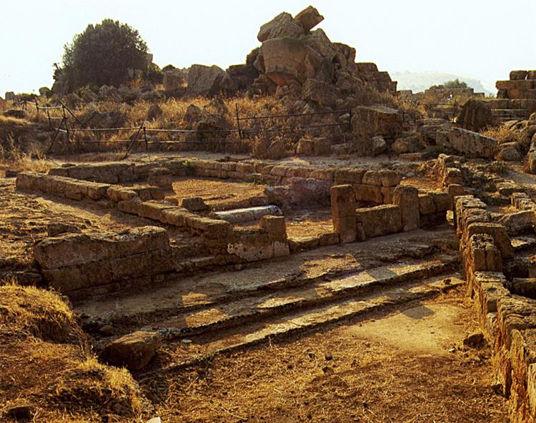 Fig. 17. The small temple at the southeast corner of Temple B. Photograph shows the archaic temple restored during the second half of the fourth century B.C.E. (modified from De Miro 1994, fig. 7).