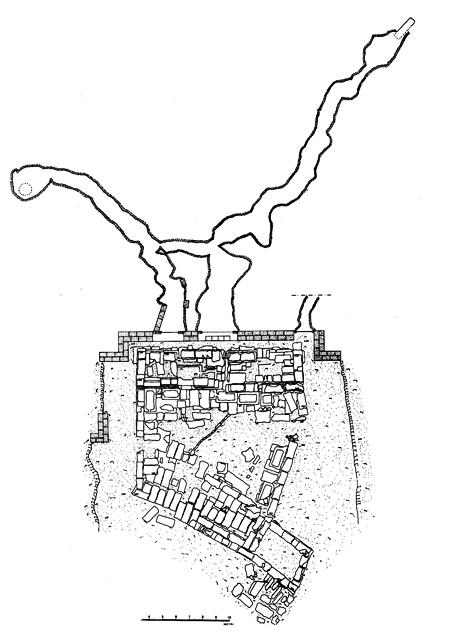Fig. 22. Plan of the whole sacred area at San Biagio with the fountain, grottoes, and galleries behind it (De Miro 1994, fig. 26)