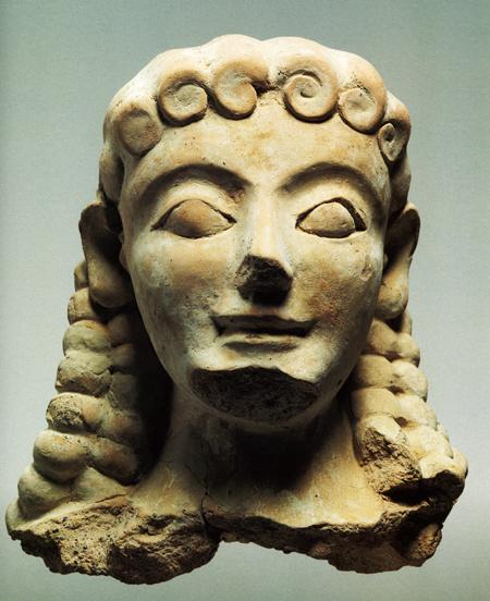 Fig. 24. Sphinx terracotta head (middle of the sixth century B.C.E.). Agrigento, Museo Archeologico Regionale, inv. no. AG 1316 (De Miro 1994, fig. 27) (= fig. 8 in published article).