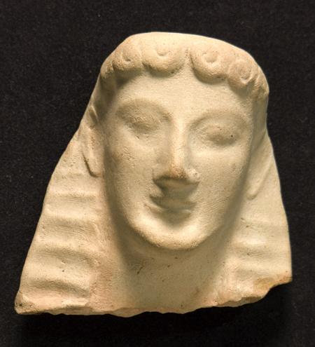 "Fig. 25. Female terracotta head from Gela (second quarter of the sixth century B.C.E.). Syracuse, Museo Archeologico Regionale, inv. no. 21429 (© Assessorato Beni Culturali e dell'Identità Siciliana della Regione Siciliana; courtesy Museo Archeologico Regionale ""P. Orsi"") (= fig. 9 in published article)."