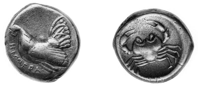 Fig. 37. Didrachm of Akragantine type from Himera, with a rooster on the obverse and a crab on the reverse. After 483/2 B.C.E. and the Emmenid establishment of power at Himera, the coins of Himera adopted the Akragantine crab type on the reverse (after Pugliese Carratelli 1985, fig. 58).