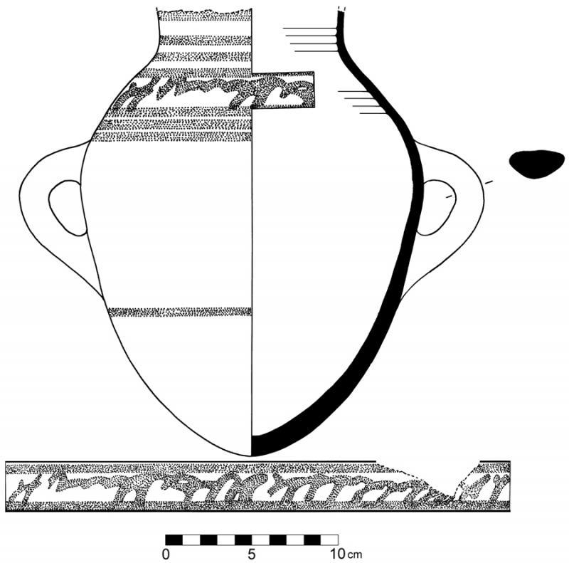 Fig. 8. Early Iron Age jar with script-like decoration from phase X at Tell Abu al-Kharaz (courtesy Tell Abu al-Kharaz Project).