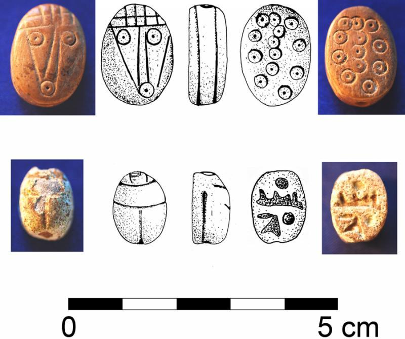 Fig. 12. Scarab and scaraboid from the Iron Age I compound at Tell Abu al-Kharaz (phase IX) (courtesy Tell Abu al-Kharaz Project).