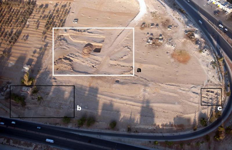 Fig. 29. Aerial view of the western part of 'Ain Ghazal: <i>a</i>, the area bulldozed in July 2011; <i>b</i>, the Central Field, excavated in 1982–1996; <i>c</i>, the North Field, excavated 1993–1996 (D. Kennedy; © Aerial Photographic Archive for Archaeology in the Middle East).