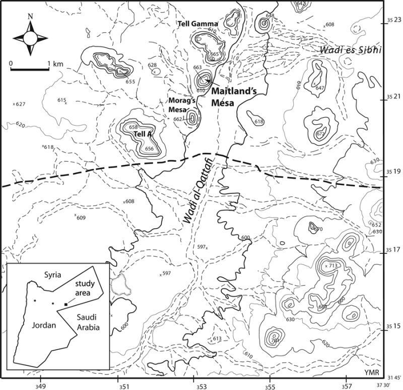 Fig. 31. Map of Wadi al-Qattafi and Maitland's Mesa (courtesy Eastern Badia Archaeological Project).