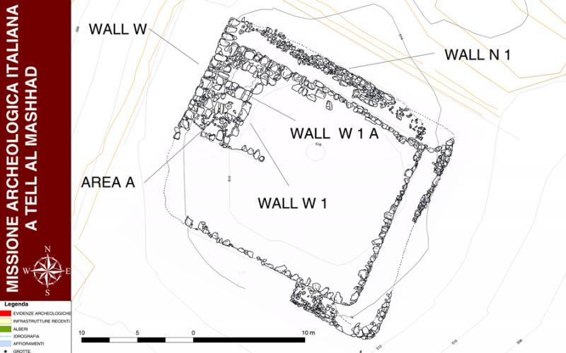 Fig. 44. Plan of Building A at Tell al-Mashhad after the 2010 and 2011 campaigns (courtesy Missione Archeologica Italiana).