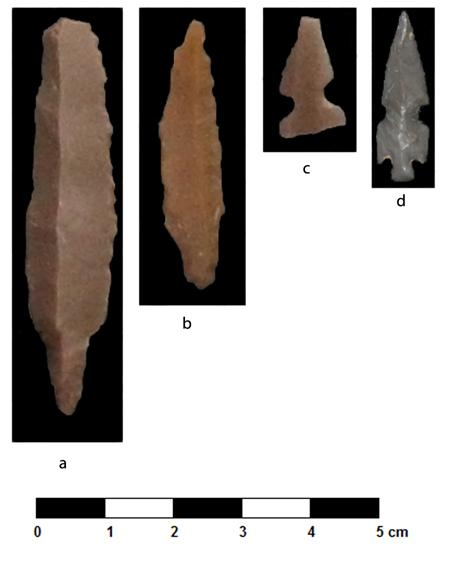Fig. 54. Point types from al-Khayran, Jordan: <i>a</i>, Byblos; <i>b</i>, A45; <i>c</i>, el-Khiam; <i>d</i>, Helwan (M. Kroot).