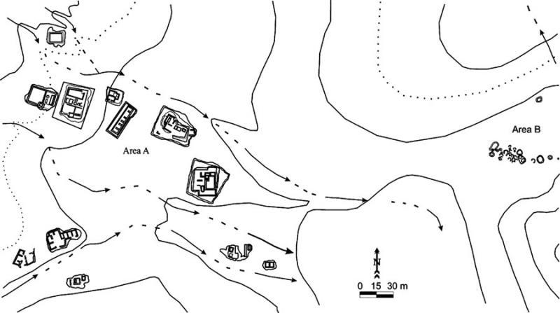 Fig. 82. GPS-generated sketch map of Mughra, a Wadi Yutm Archaeological Survey site. Main site area is Area A; the cemetery is Area B (J. Scott).
