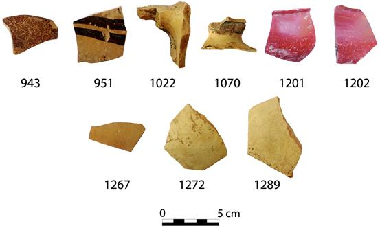Fig. 7. Pottery found under Wall 3 to the south of the Peisistrateian Telesterion. The sherd numbers correspond to catalogue numbers in Cosmopoulos (forthcoming).