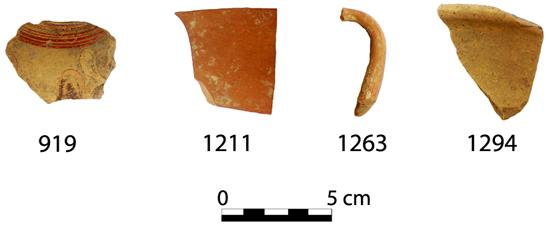 Fig. 8. Finds between Walls 4a and 4b to the south of the Peisistrateian Telesterion. The sherd numbers correspond to catalogue numbers in Cosmopoulos (forthcoming).
