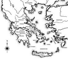 Map of the Bronze Age Aegean