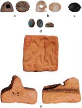 Examples of stamp seal shapes and materials from Episkopi-Bamboula.