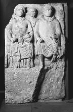 Gravestone for Blussus and Menimane, dated to the Claudian period.