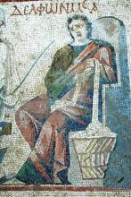 Mosaic panel illustrating Menander's <i>Philadelphoi</i>, Daphne.
