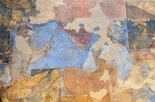 A section of a mural painting at Quseir 'Amra, after the current conservation and cleaning efforts.