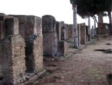 The bracing piers of the palaestra portico.