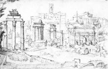 Panoramic view of the Roman Forum, by Marten van Heemskerck.